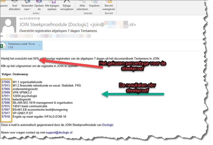 Steekproevenmodule E-mail